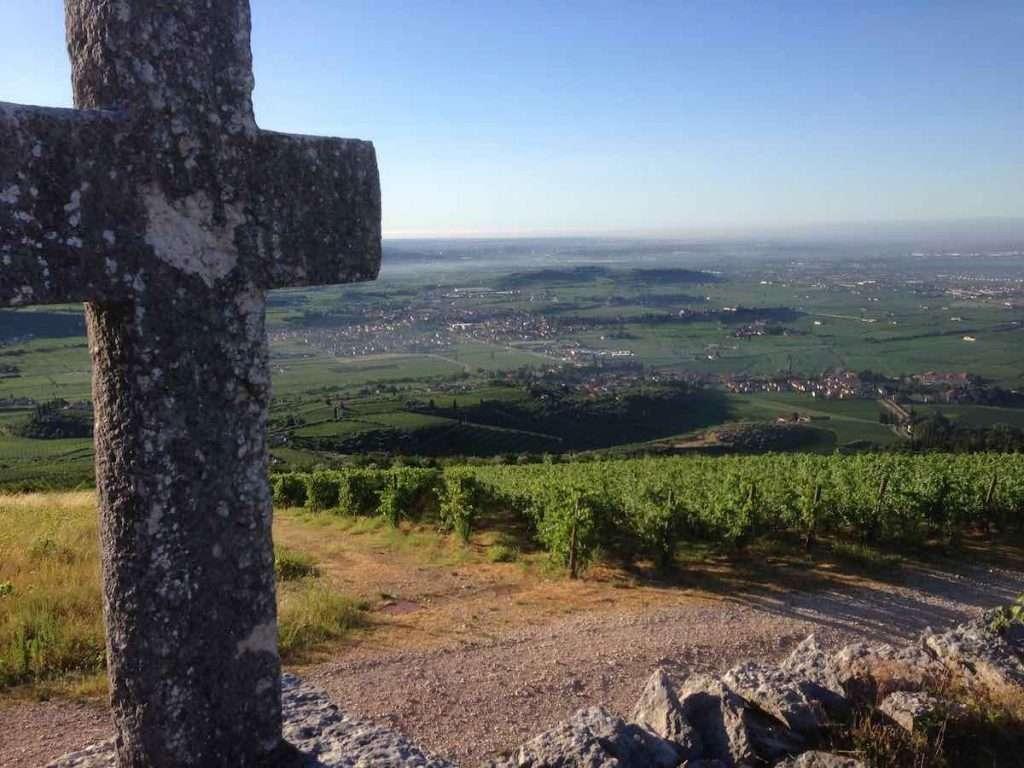 La veduta della Valpolicella dalla croce alla sommità del vigneto la Fabriseria, storico cru della famiglia Tedeschi