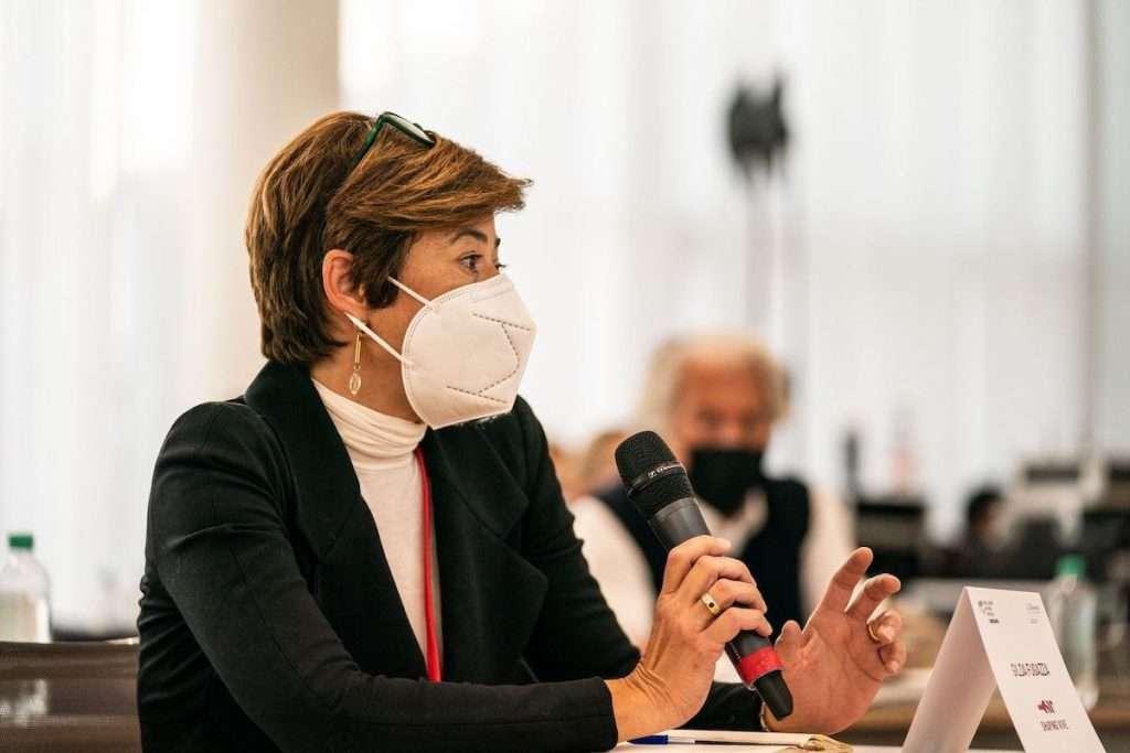 Gilda Fugazza, presidente del Consorzio Tutela Vini Oltrepò, nel suo intervento al forum sul futuro del vino della Milano Wine Week