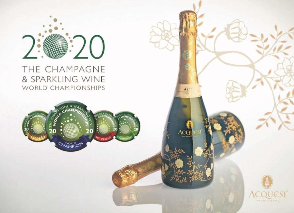 Il Gruppo Mondodelvino si conferma con l'Asti Docg Acquesi, per il secondo anno consecutivo, Campione Mondiale degli spumanti aromatici al concorso Champagne&Sparkling Wine World Championship