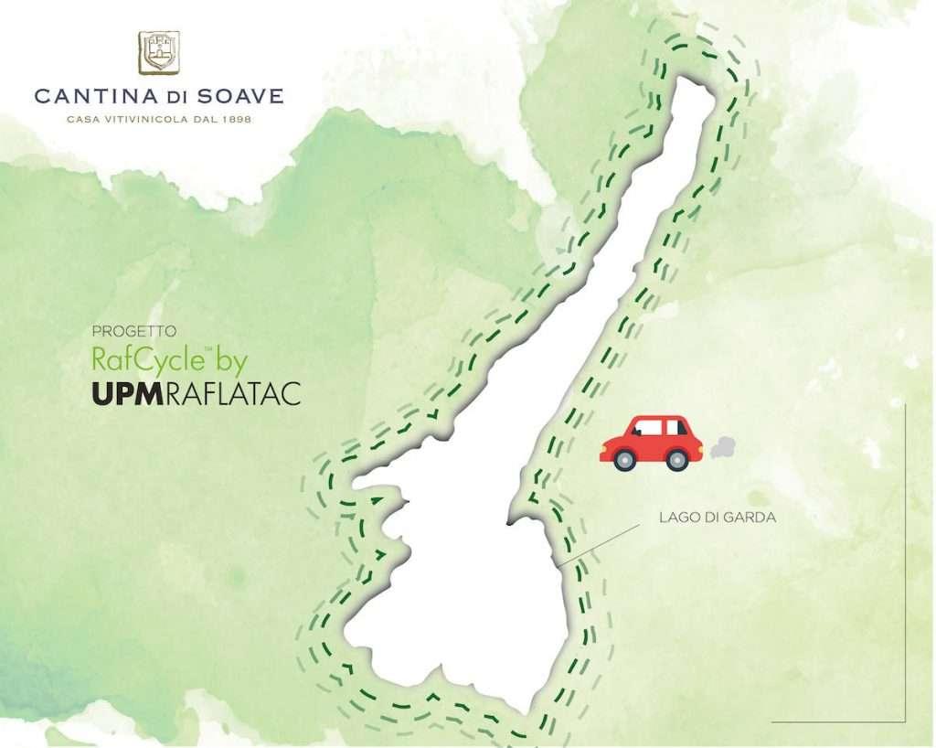 Cantina di Soave, grazie al suo impegno green, ha risparmiato in cinque anni 34,8 tonnellate di anidride carbonica, che equivalgono a 1.445 volte il giro del Lago di Garda