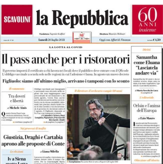 La prima pagina del quotidiano la Repubblica di oggi 26 luglio dedicata al tema Green Pass nella ristorazione