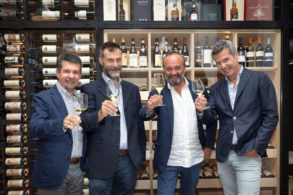 Da sinistra: Massimo Cassamagnaga, Alberto Cristofori, Federico Pedrazzi e Fabrizio Cimiotta, i soci titolari di WineTip